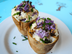 Creamy Stuffed Potatoes Topped With Purple Kale Chips